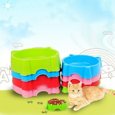 Plastic Pet Cat Dog Feeding Bowl Cute Cat Face Shape Food Water Feeder Bowl NEW