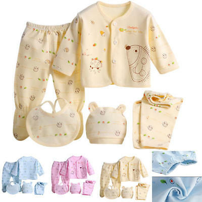 5pcs/Set Baby Newborn Boys Girls Organic Cotton Outfit Sets Clothes Suit Gifts