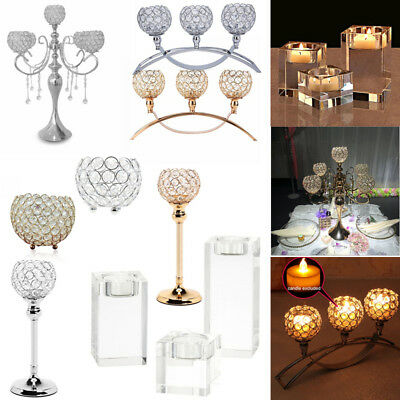 Crystal Tealight Holder Square Cube/Pillar/Arch Wedding Table Candle Stick Stand