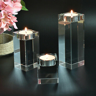 1/3pcs Wedding Decoration Crystal Candle Stick Tealight Holders Glass Cube Jars