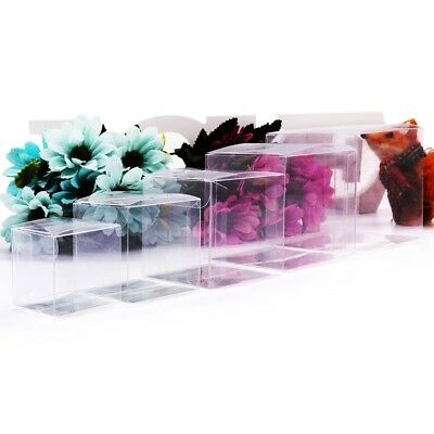 10pcs Transparent PVC Candy Bags Clear Square Box Wedding Jewelry Gifts Boxes