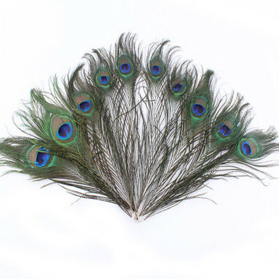 1-100pcs Natural Feathers Peacock Tail Feather 25-30cm for Garden Party Decor