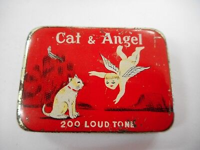 Vintage Cat & Angel Gramophone Needle Tin With Contents    ..