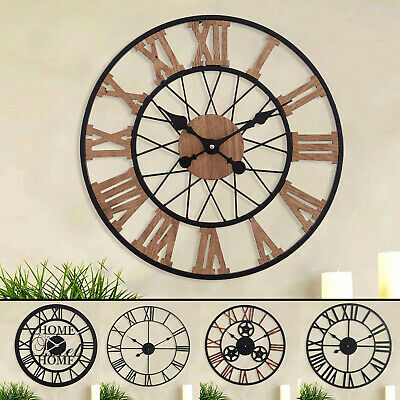 Large Garden Wall Clock Roman Antique Skeleton Vintage Iron Black Decor Gift