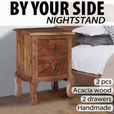 vidaXL 1/2x Solid Acacia Wood Nightstand with Drawers Bedroom Bedside Table