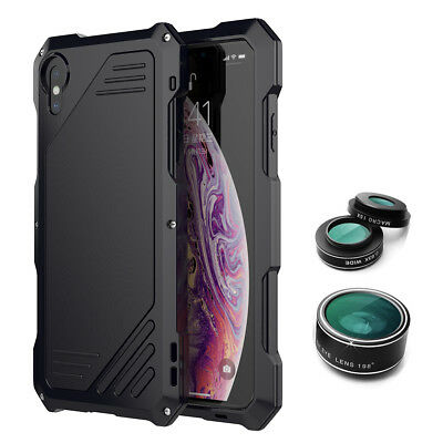 For Apple iPhone XR XS MAX Wide Angle Macro Fisheye Camera Lens 3 In1 Metal Case