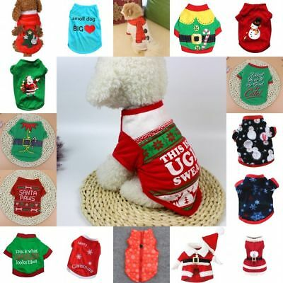 US Pet Puppy Dog Christmas Soft Clothes Santa Claus Costume Outwear Coat Outfit