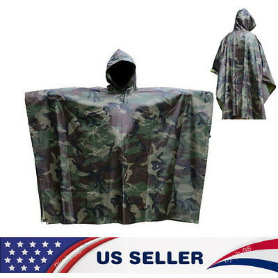US Army Military Camping Hiking Woodland Wet Weather Rain Poncho Camo Raincoat