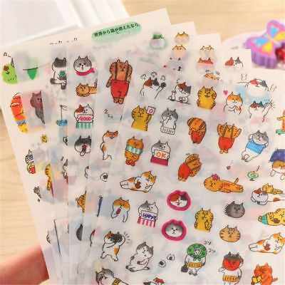 6 sheets Cartoon Cats PVC Stickers Kawaii Stationery DIY Scrapbooking Stickers