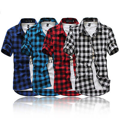 Stylish Mens Boys Short Sleeve Check Casual Shirt Summer T-shirt Tee Tops Blouse