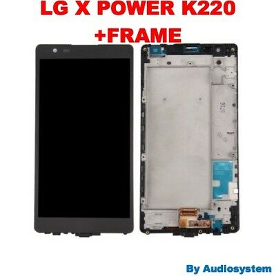 P1 DISPLAY LCD + TOUCH SCREEN +FRAME per LG X POWER K220 K220N NERO VETRO TELAIO