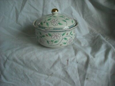 """Trinket Pot/China Lidded 4""""dia x 1 1/2"""" high white and floral"""