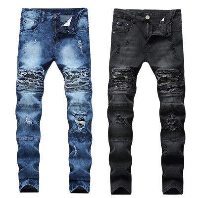 Mens Skinny Jeans Ripped Stretch Denim Distress Frayed Biker Jeans camouflage