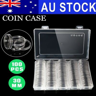 AU 100PCS 30mm Coin Clear Cases Capsules Holder Container Storage Case +Box
