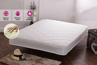 New  Memory Foam Topped Sprung Mattress 3Ft 4Ft 4Ft6Double 5Ft Uk