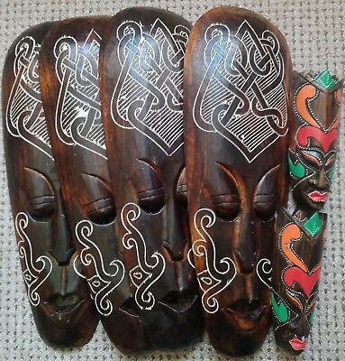 6 x IMPERFECT HAND CARVED WOOD  BROWN TRIBAL WALL MASKS 50CM & 20CM