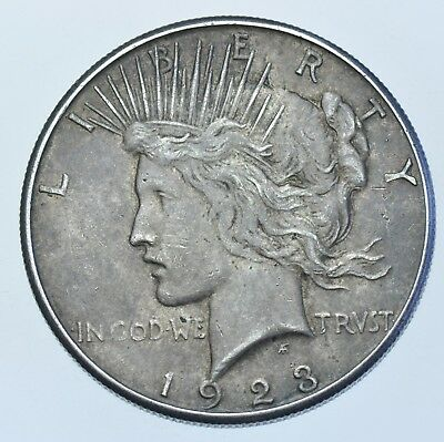 Usa United States Peace Dollar, 1923, San Francisco Mint Silver Coin Ef-45