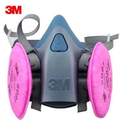 3M 7502 Respirator Painting Spraying Face Gas Mask w/ 2091 P100 filters