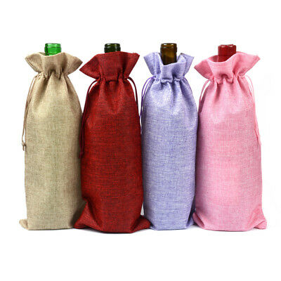 1-50pcs Natural Jute Burlap Vintage Hessian Wine Bottle Cover Bags Wedding Party