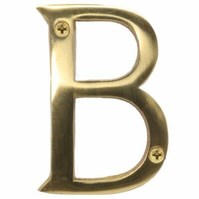 "SOLID POLISHED BRASS+SCREWS Letter - 'B' 75mm/3"" Large House Front Door Number"
