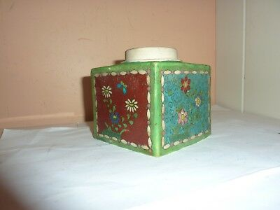 Japanese Meiji Period Red/blue/black/green Cloisonne On Pottery 9.9Cm Square Pot