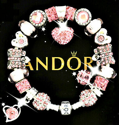Authentic Pandora Bracelet Silver Pink MOTHER DAY Wife Mom European Charms New