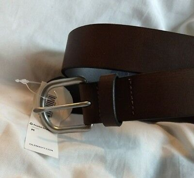 Boys Size Medium Old Navy Black Leather Belt With Silver Buckle ~ Brand New