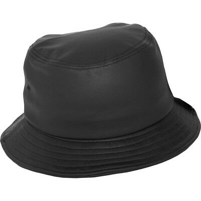 Flexfit by Yupoong Mens Imitation Full Leather PU Bucket Hat