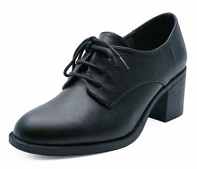 Ladies Black Lace-Up Brogue Ankle Boots Smart Work Court Casual Shoes Sizes 3-9