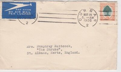 South Africa-1936 6d orange tree on Durban airmail cover to Great Britain