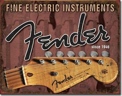 Fender Stratocaster Headstock Since 1946 Fine Electric Guitar Tin Metal Sign