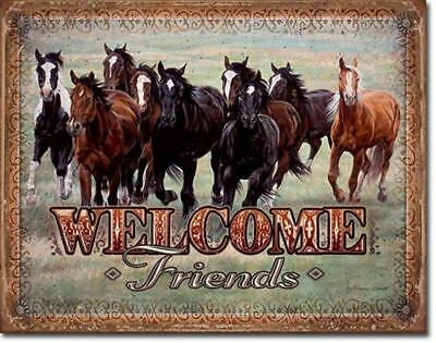 Welcome Friends Western Wild Horses Running Mustangs Tin Metal Sign