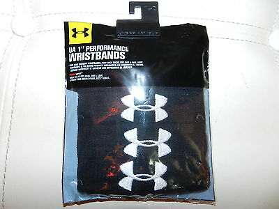 """NEW Under Armour 4PK 1"""" Performance WRISTBANDS Unisex Black FREE Shipping CANADA"""