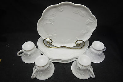 Harvest - Milk Glass Snack Set by Colony - 4 cups and 4 trays - Used
