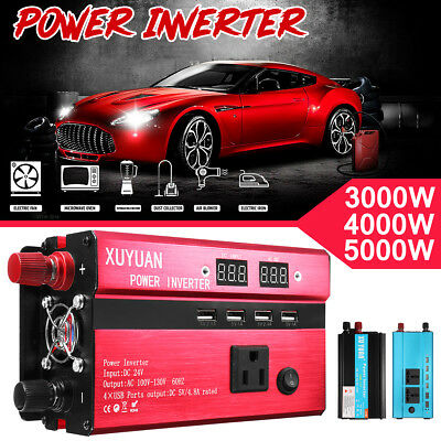 Power Inverter 3000W/4000W/5000W 12/24V to 220V Fixed Sine Wave Camp Home Solar