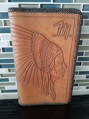 1940s-50s Leather Book Cover Indian Motif