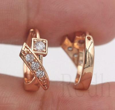 18K Gold Filled - Geometry Square Nail Topaz Zircon Women Hoop Jewelry Earrings