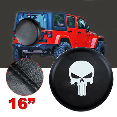 "16"" skull Car Spare Tire Tyre Wheel Cover For Jeep Liberty Wrangler black 30 31"""