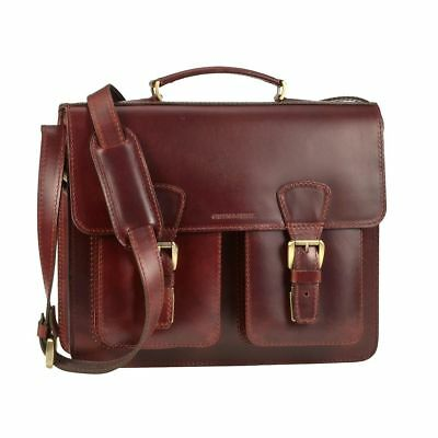 Leather Briefcase Red Brown School Bag Leather Bag Greenburry