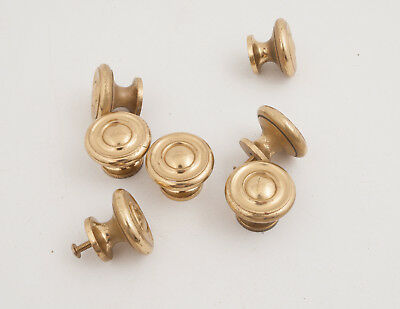 Lot of 7 Solid Brass Drawer Pulls Knobs Hubcap Look Cabinet Hardware (B4R) 1.74'