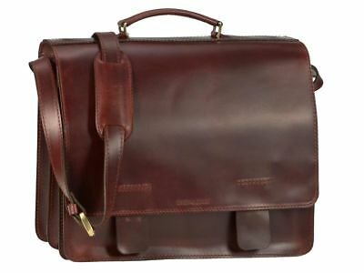 Greenburry Work Bag Leather Brown 2 Compartments XL Teacher Bag + Keychain