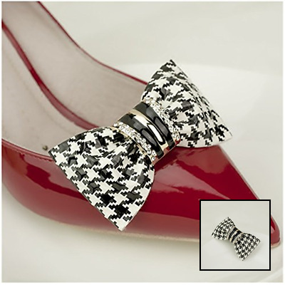 Douqu Clastic Wild Black White Dots Crystal Bow Artificial Leather Shoe Clips Ch