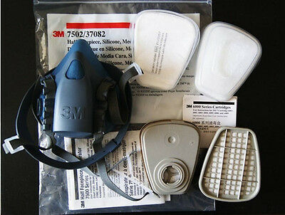 3M 7502 7 Piece Suit Respirator Painting Spraying Face Gas Mask