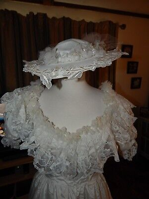 1980's Vintage Homemade Wedding Dress  with Hat