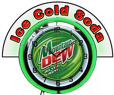 "Mountain Dew Do the Dew w/ Ice Cold Soda Marquee 19"" Green Neon Clock Mancave"