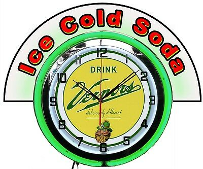 """Vernors Ginger Ale w/ Ice Cold Soda Marquee 19"""" Green Neon Clock Mancave"""