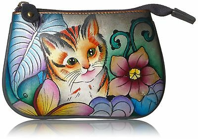 ANUSCHKA Med Organizer Pouch Coin Purse Hand-painted Leather- Cats in Wonderland