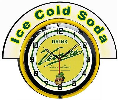 """Vernors Ginger Ale w/ Ice Cold Soda Marquee 19"""" Yellow Neon Clock Mancave"""