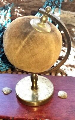 Globe Antique  Pin Cushion Gold Velvet & Brass Sewing Collectible