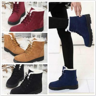 Winter Warm Rubber Flat Lace Up Fur Lined Martin Boots Snow Ankle Boots D